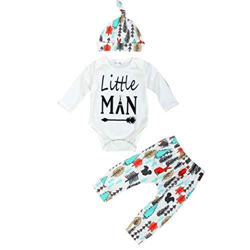 Zolimx Neugeboren Baby gedruckte Oberseiten + Hosen Hut Ausstattungs gesetzte Kleidung (90, Weiß)