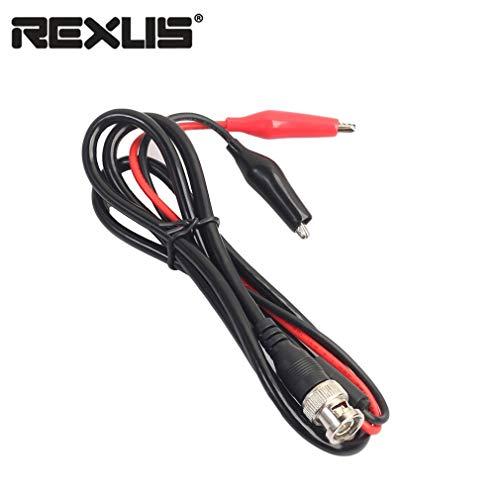 REXLIS-BNC-Spina-maschio-a-doppio-cavetto-a-coccodrillo-Oscilloscopio-test-cavo-di-piombo-Colore-nero-e-rosso