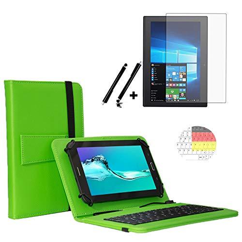 Tastatur in1 Starter Set für MEDION LIFETAB P9701 Deutsche Tablet Tastatur Hülle | Schutz Folie| Touch Pen | 9.7 Zoll Grün Keyboard 3in1