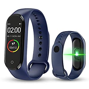 BATHRINS Pulsera Inteligente, [Actualización] M4 Fitness Tracker Rastreador de Actividad Bluetooth Impermeable Monitor de Ritmo cardíaco de sueño Podómetro Paso Reloj para Hombres Mujeres 9