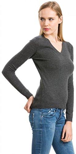 Damen V - Ausschnitt Pullover - 100% Kaschmir - Citizen Cashmere Dunkelgrau