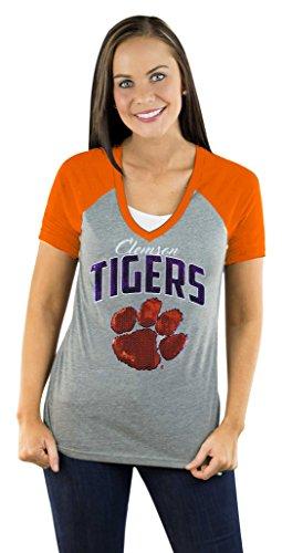 Gameday Couture NCAA Clemson Tigers Damen Raglan-T-Shirt mit V-Ausschnitt, Größe XL, Orange - Bling Logo Tee