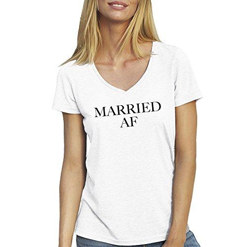 Married Af Black T-Shirt maglietta collo a v per le donne Bianca