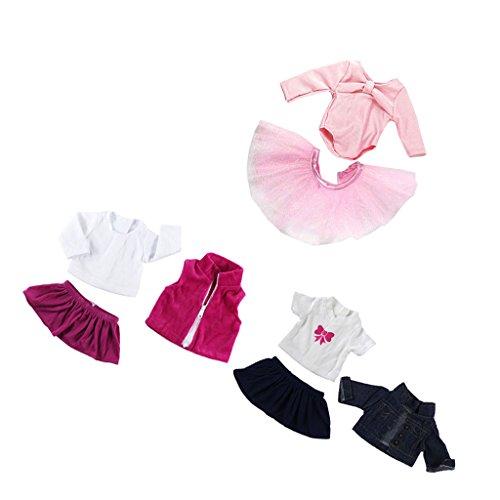 Preisvergleich Produktbild Gazechimp 3 Sets Puppen Bekleidung Für 18 '' American Girl Puppen - Ballett Tanz Anzug / Hemd Rock Weste Anzug / Jeans Anzug