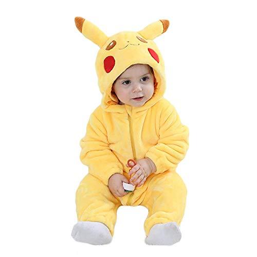 Amooy Dizi Baby Strampler Tier Spielanzug Flanell Jumpsuit Winter Bekleidung Babybekleidung (Pikachu, 80 cm (100)) (Pokemon Kostüm Für Jungen)