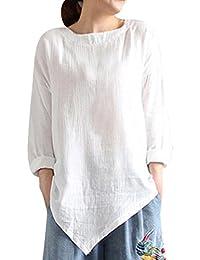 Femmes Blouse,Chemise Vintage Coton Lin à Manches Longues Casual Lâche Tops  Bringbring 2d97769ba98e