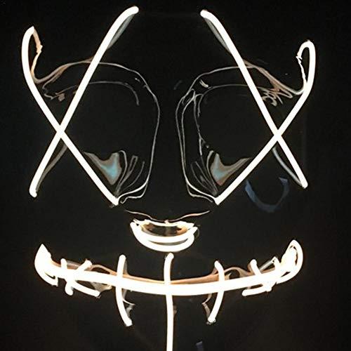 AlamoYY Halloween EL Lumineszierende Grimasse Maske LED Leuchten Maske Kaltlicht Maske Scary Leuchtende Maske Für Festival ()