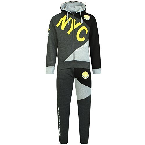 Deluxe Charcoal (A2Z 4 Kids® Kinder Jungen Trainingsanzug NYC DELUXE PROJECT Aufdruck - T.S NYC Deluxe Charcoal & Yellow 9-10)