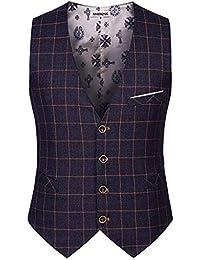Saoye Fashion Uomo Gilet Gilet Gilet Gilet Casual Business Elegante Solenne  Tight Cut Giovane Plaid Vest Vest con… bc7692b8587