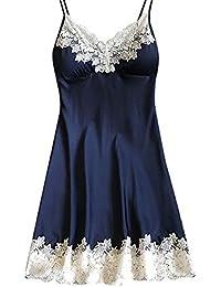 Sonnena 2PCS Sexy Lingerie en Dentelle Robe Femme Pyjamas avec Noeud de  Fleur Nuisettes Dentelle Vêtement 7c1f4254fe6