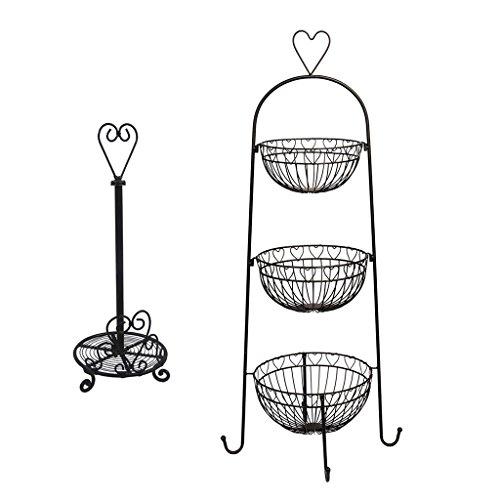 Estante de pie de tres niveles con forma de corazón rústico y soporte para rollo de cocina, accesorio de almacenamiento para frutas, verduras y otros ingredientes de cocina y dispensador de papel de estilo rústico – Preciosa idea de regalo de inauguración de la casa o aniversario para cualquier hogar tradicional