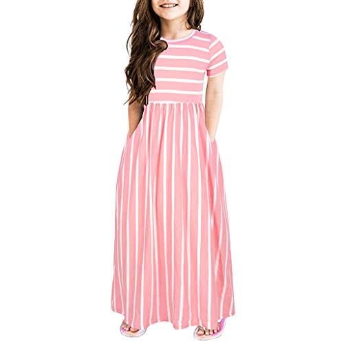Julhold Kleinkind Baby Mädchen Einfach Fest Kurzarm Gestreift Drucken Kleid Kinder Baumwolle Kleider Kleidung 2-12 Jahre