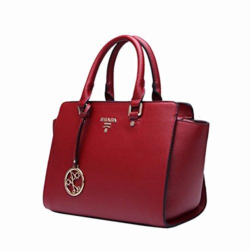 Yacn-Custodia in vera pelle da donna, maniglia superiore Handbag Queen-Borsa da donna con tracolla blu