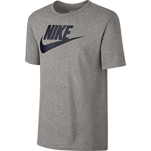 Nike Herren M NSW Tee ICON Futura Kurzarm-Laufshirt, Dunkles Heidekrautgrau/Schwarz, L -