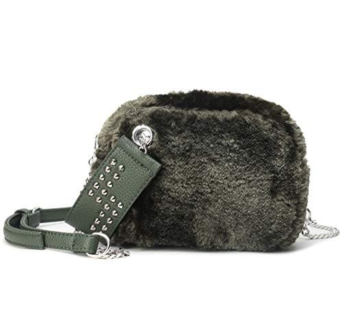 Borsa pelliccia sintetica, borsa a tracolla piccola donna borsetta borchie borse a mano rivetto borse a spalla pelliccia ecologica per ragazza casual inverno
