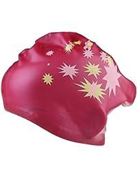 TININNA Gorros para Natación para Cabello Largo,Gorro de piscina de Silicona Resistente con Bolsillos Ergonómicos para las Orejas(Rosa caliente)