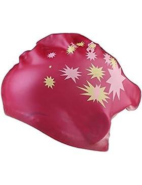 TININNA wrap ear impermeabile Stretch stella ha stampato silicone Nuoto Cap per le donne Rose Rosso