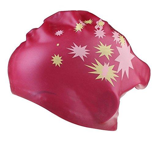 TININNA Stern Muster Wasserdicht Silikon Schwimmkappe Badekappe Badehaube Schwimmhaube Bademütze Swim Swimming Cap für Lange Haare Gesund hot pink EINWEG Verpackung