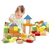 Lewo Bunte Holzbausteine in der Trommel zur Aufbewahrung Buchenholz Holzbausteine Stapel Spielzeug für Kinder Kleinkinder 32 stück