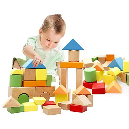 Lewo Bunte Holzbausteine in der Trommel zur Aufbewahrung Buchenholz Holzbausteine Stapel Spielzeug für Kinder Kleinkinder 32 stück - Stapeln Spielzeug Kinder