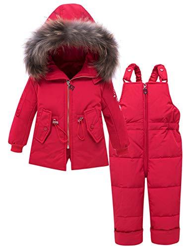 Zoerea Kinder Mädchen Süß Daunenanzug mit Kaputze Schneeanzug + Schneehose 2tlg Verdickte Winterjacke Skianzug Rot,80