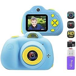 OFUN Appareil Photo pour Enfant, Caméra Enfant avec Écran de 2 Pouces, Double Objectif HD 1800 mégapixels/1080P, Carte mémoire de 16 Go, Lecteur de Carte, Antichoc
