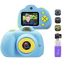 OFUN macchina fotografica per bambini, Videocamera Fotocamera Digitale 8MP 1080P HD + 2 Pollici LCD + 16GB Carta TF + Lettore di schede, antiurto Silicone per Ragazze e Ragazzi (Blu)
