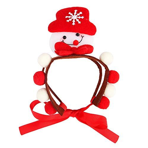 ZZM Weihnachts-Haarband, Haustier Katze Hund Weihnachten Kostüm Nikolaus Schneemann Elch Hut Kopfbedeckung Kopfbedeckung Weihnachtsdekor Haustier Zubehör Niedlich Urlaub Party Kostüm - Schneemann Kostüm Für Hunde