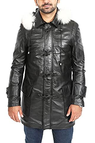 Mens Genuine BLACK Leather Duffle Coat 3/4 Long Horn Toggles
