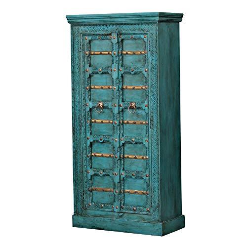 Casa Moro | Orientalischer Schrank Adna 90x40x185 cm (B/T/H) Türkis im Kolonial-Stil | schmale Echtholz Hochkommode aus Mango Holz | Kleiderschrank für einfach schöner Wohnen | CA321270
