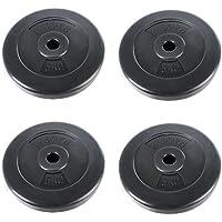 Physionics® HSTA24-4 Barras de mancuerna (roscada, 5 kg por Disco, 20 kg en Total, Agujero de Disco Ø 26 mm, con Revestimiento plástico)