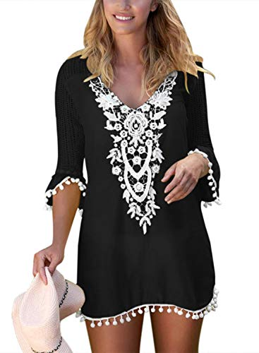 Dokotoo Femme Robe de Gland Court Cocktail Tunique Robes de Plage Bohème Manches Courtes Cache-Maillots de Bikini Mousseline Cover U