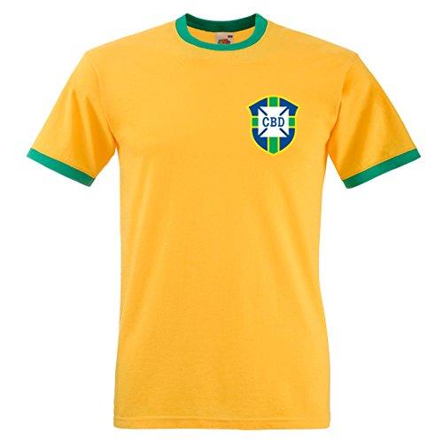 Camiseta de manga corta de Pelé de Brasil, Mundial de fútbol de 1970 Sunflower and Kelly Green Small