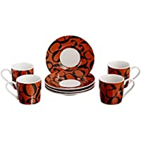 Konitz 3-Ounce Script Collage Espresso Cup and Saucers, Black/Brown, Set of 4 by Konitz