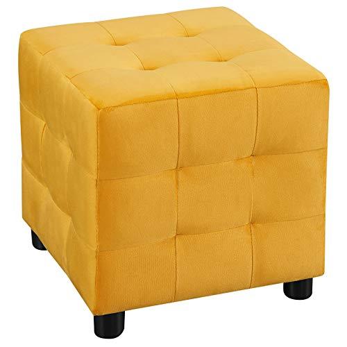 IDIMEX Würfelhocker Bazar aus Samt, Sitzhocker Sitzwürfel Polsterhocker Stoff Samtstoffbezug, in gelb