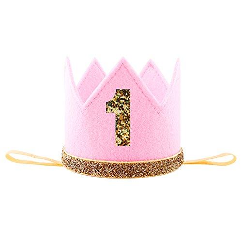 Luerme Baby Geburtstag Hut Prinzessin Hut Krone Kopfschmuck Partyhüte (Rosa)