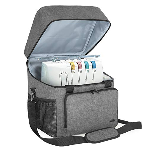 Luxja Overlock Tasche für Overlock Maschinen, Overlocktasche für Aufbewahrung Overlock-Nähmaschinen, Coverlocktasche für Transport Overlockmaschine und Zubehör, 35,5CM x 30,5CM x 37CM, Grau