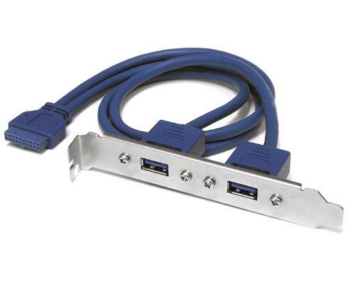 StarTech. com 2Port Slotblech USB 3.0SuperSpeed mit A Mainboard-Adapter für Kabel (IDC-Anschluss, 2x USB 3.0, männlich/weiblich, Blau, Edelstahl, PVC, 50cm) Flash-bracket Kabel