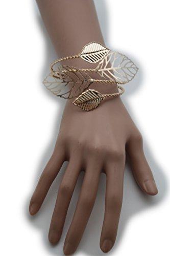 Rodeo-manschette (télévision Française Juive Frauen Fashion Jewelry breiter Metall Manschette Armband Baum Blätter Gold Farbe)