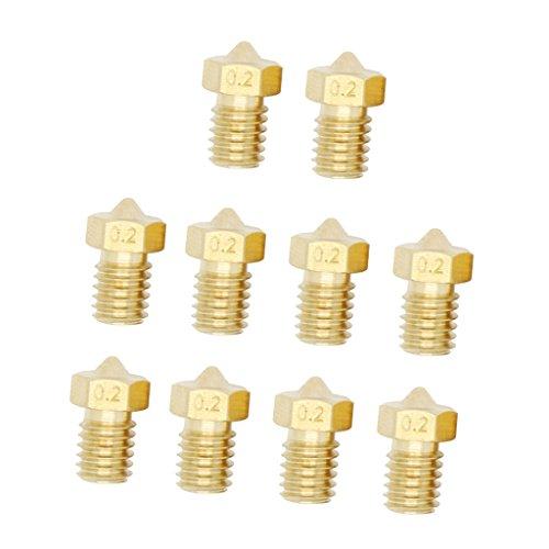 Sharplace 10x Extruder Düse Nozzle 3D Drucker Kopf Druckkopf - Gold 0,2mm (Drucker-kopf)