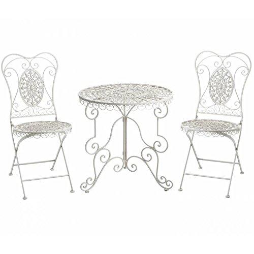 L'Héritier Du Temps Salon de Jardin Salon de Thé 2 Places Personnes Table Bistrot et 2 Chaises Pliantes en Fer & Fonte Blanc