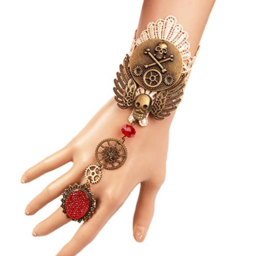 Tsinggs Gothic Retro Punk Clock Engel & Teufel Weiß Spitze Armband Ring Set Mit Strass Quaste Anhänger Victorian Palace Prinzessin Lolita Halskette Armband