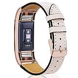 Mornex Kompatibel Fitbit Charge 2 Armband, Echte Leder Armbänder, Unisex Ersatzband mit Metall Konnektoren(5,5