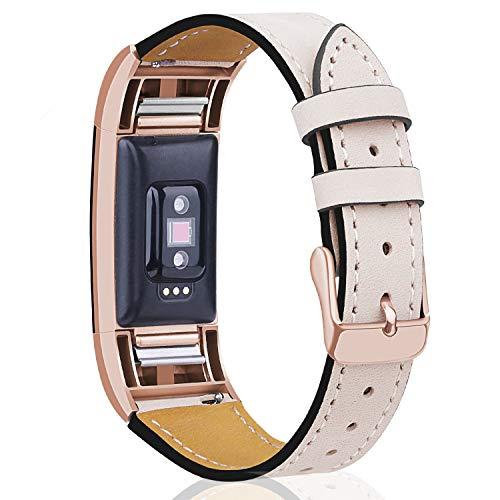 "Mornex Kompatibel Fitbit Charge 2 Armband, Echte Leder Armbänder, Unisex Ersatzband mit Metall Konnektoren(5,5\""-8,1\""), Rosegold & Beige"