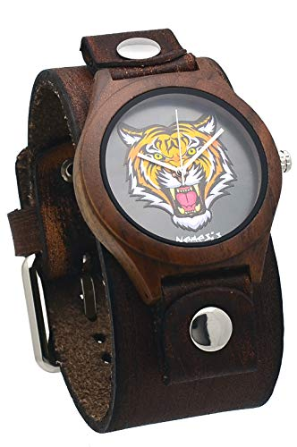 Nemesis #NFB262T Men's Natural Wood Case Wide Leather Cuff Band Tiger Dial Watch