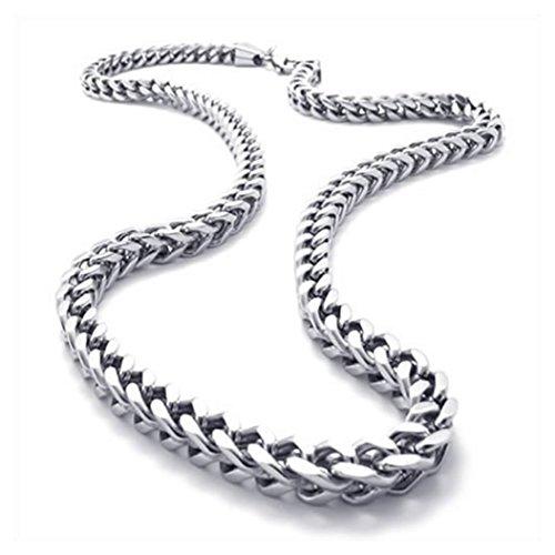 Schmuck Herren-Kette, Edelstahl Biker Königskette Halskette, Silber, Breite 6mm, Länge 55cm