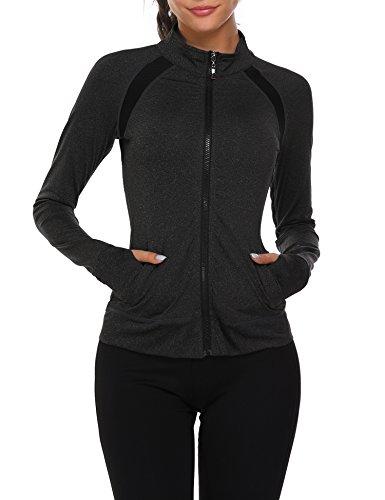 Parabler Laufjacke Damen Sportjacke Trainingsjacke voll Reißverschluss Trainingsanzug mit Daumenloch und Seitentasche Fitness Schwarz S