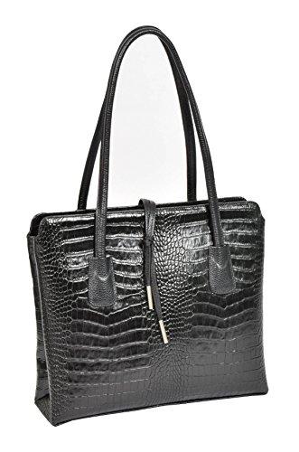 Femmes Noir Cuir Véritable Sac à Bandoulière Croc Terminer Designer Italien Mode Fourre-tout - A062