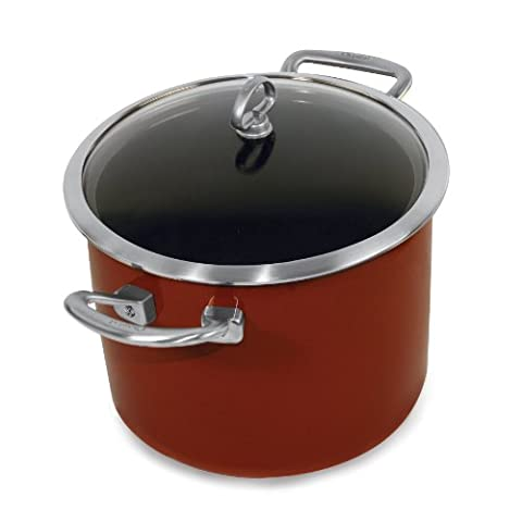 Chantal Copper Fusion 8-Quart Stockpot with Glass Lid, Chili Red