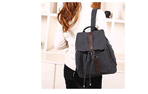 Minetom Damen Schulrucksack Dame Stil Einfarbig Schulranzen Schultasche Rucksack Freizeitrucksack Daypacks Backpack Schwarz